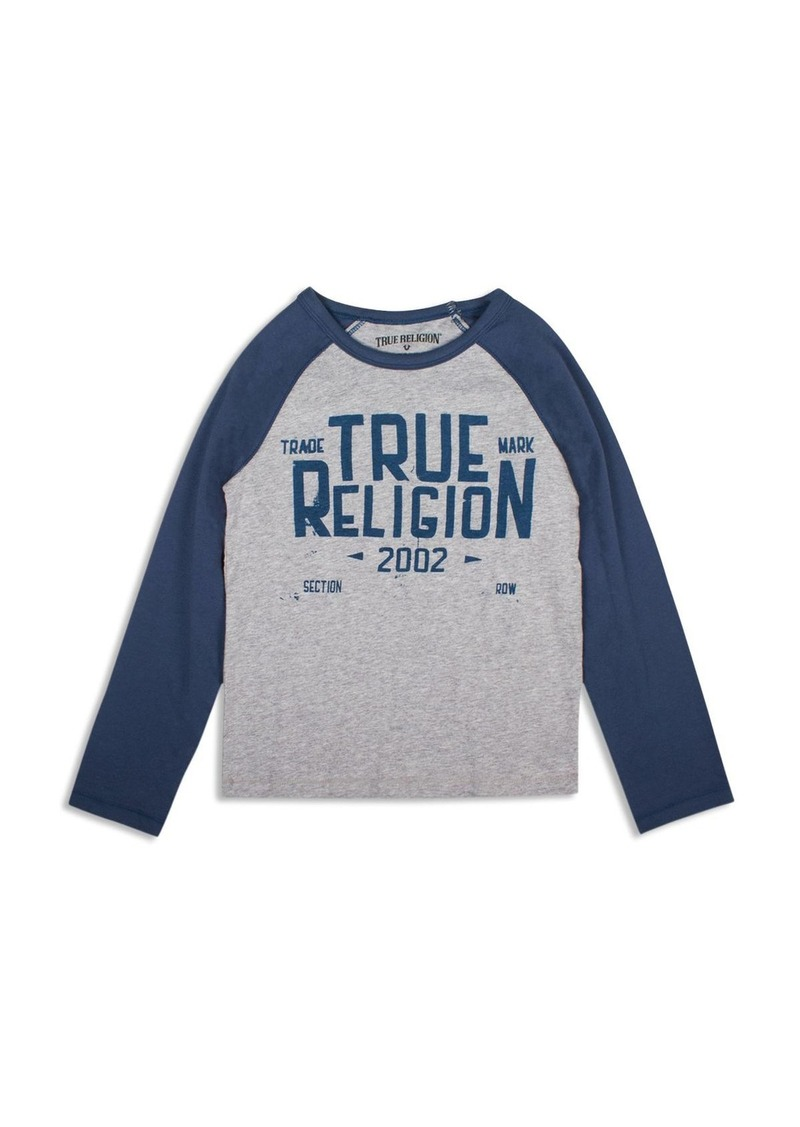True Religion Boys' Contrast Sleeve Branded Tee - Sizes S-XL