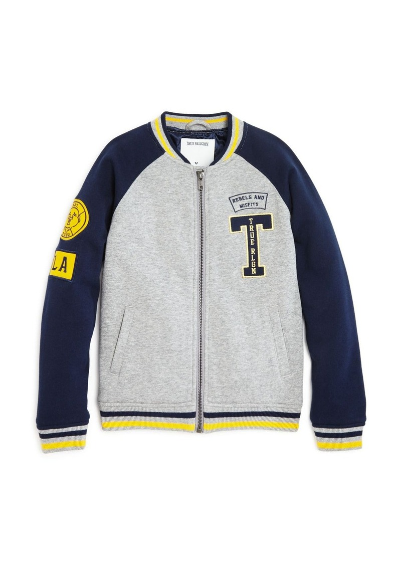 True Religion Boys' Heavy Knit Varsity Jacket - Sizes S-XL