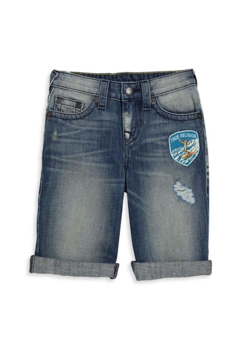 True Religion Boy's Patch Detail Jean Shorts
