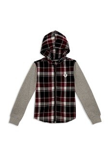 True Religion Boys' Plaid Color-Block Hoodie - Little Kid, Big Kid