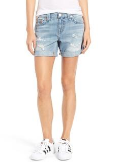 True Religion Brand Jean Jayde Bermuda Shorts (Destroyed Baby Blue Moon)