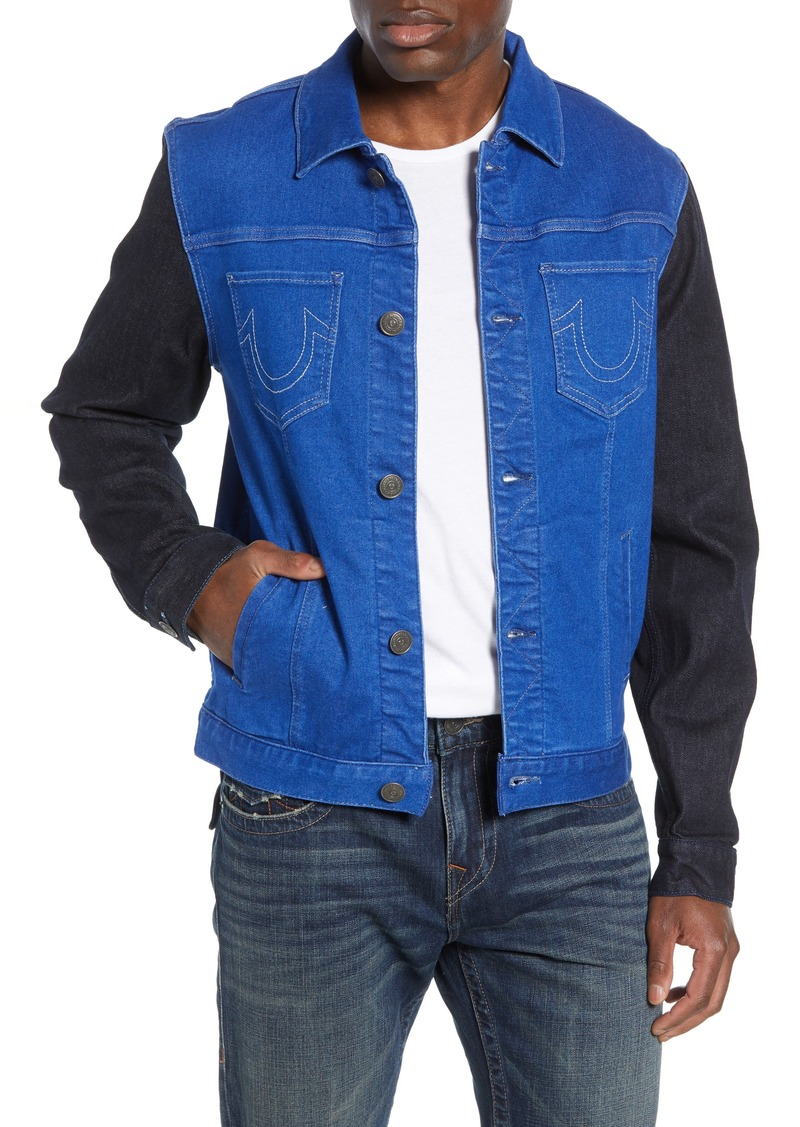 True Religion Brand Jeans Dylan Colorblock Trucker Jacket