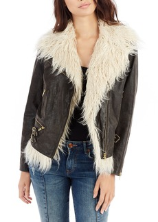 True Religion Brand Jeans Faux Fur Moto Jacket