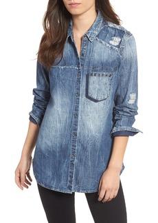 True Religion Brand Jeans Georgia Distressed Denim Shirt