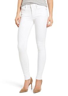 True Religion Brand Jeans Halle Shredded Super Skinny Jeans (Optic White)