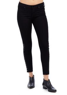 True Religion Brand Jeans Halle Snap Ankle Super Skinny Jeans (Jet Black)