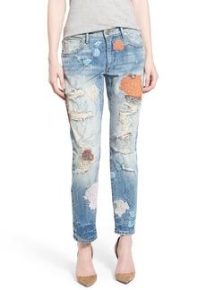 True Religion Brand Jeans Liv Embroidered Crop Boyfriend Skinny Jeans (Vintage True Destroyed Floral)