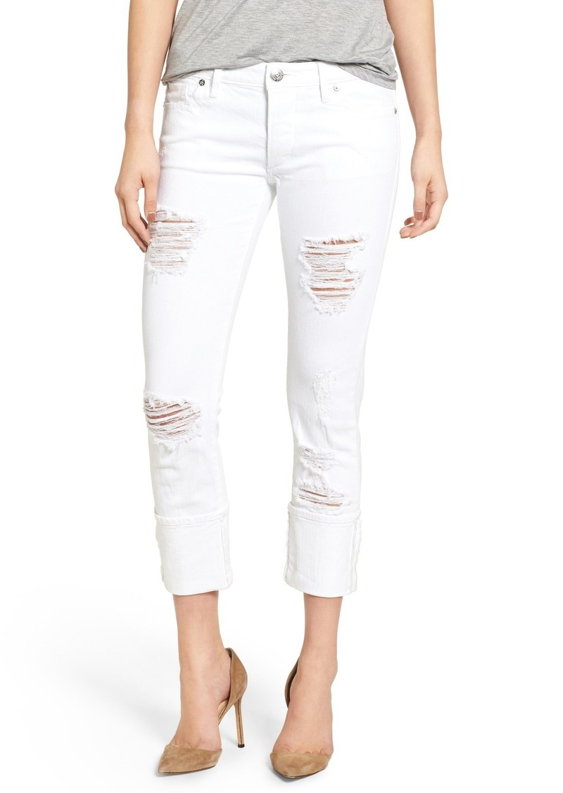 True Religion Brand Jeans Liv Relaxed Skinny Jeans (Bright White Ripped)