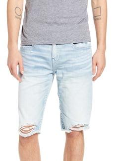 True Religion Brand Jeans Ricky Distressed Cutoff Denim Shorts (Worn Light Rain)