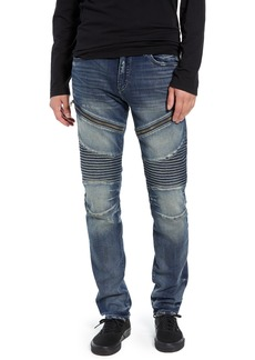 True Religion Brand Jeans Rocco Skinny Fit Moto Jeans (Combat Blue)