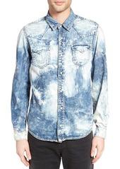 True Religion Brand Jeans Ryan Acid Wash Denim Western Shirt