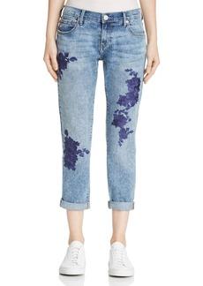 True Religion Cameron Embroidered Boyfriend Jeans in Aquarius Blues