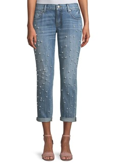 True Religion Cameron Straight-Leg Boyfriend-Style Jeans with Pearly Beads
