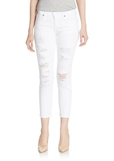 True Religion Cora Distressed Straight Leg Cropped Jeans