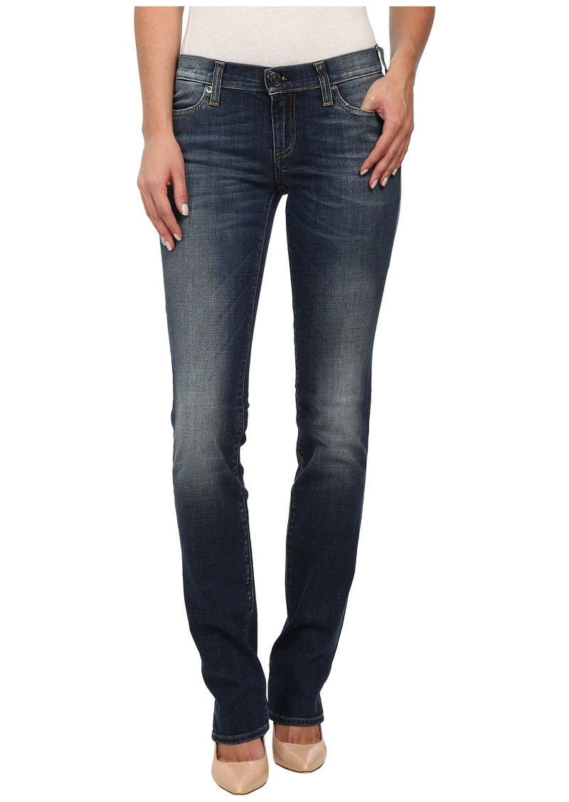 True Religion Cora Mid Rise Straight Jeans in Old Blinston Blue