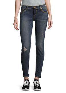 True Religion Cotton-Blend Distressed Denim Pants/Blue