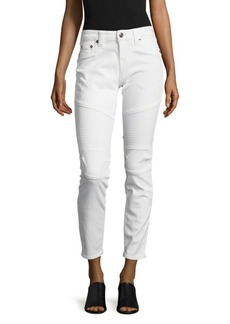 True Religion Cropped-Cut Jeans/White