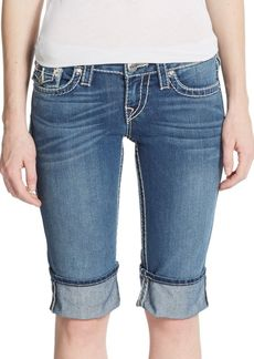 True Religion Denim Cuffed Bermuda Shorts