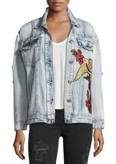 True Religion Distressed Denim Trucker Jacket