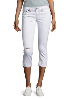True Religion Distressed Five-Pocket Capri Pants