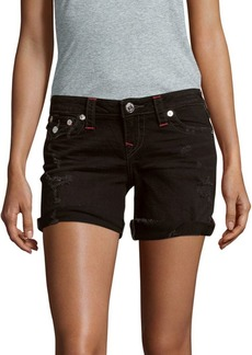 True Religion Distressed Roll Cuff Midi Shorts