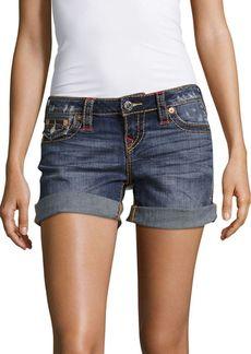 True Religion Distressed Roll Cuff Midi Shorts