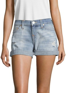 True Religion Distressed Roll-Up Shorts
