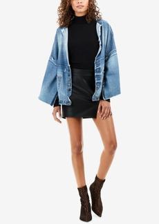 True Religion Faux Vegan Leather Mini Skirt