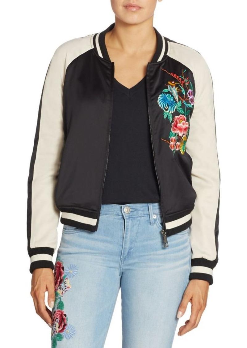True Religion Floral Embroidered Satin Bomber Jacket