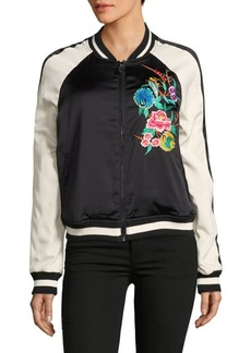 True Religion Floral Embroidered Satin Bomber Jacket