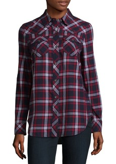 True Religion Georgia Long Sleeve Cotton Plaid Shirt