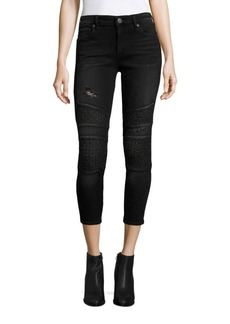 True Religion Halle Cropped Skinny Moto Jeans