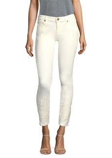True Religion Halle Floral Embroidered Skinny Jeans