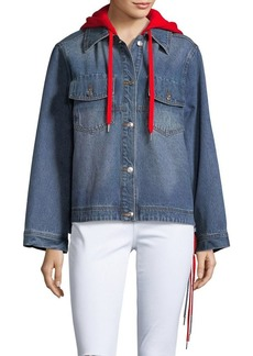 True Religion Hooded Button-Front Denim Jacket