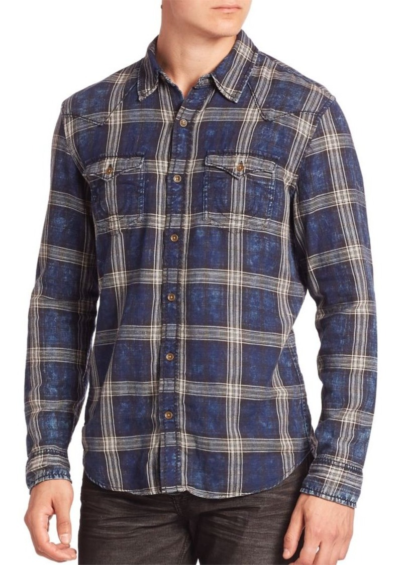 True Religion Indigo Plaid Western Shirt