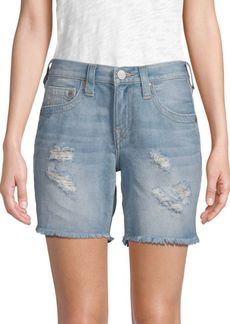 True Religion Jayde Flap-Pocket Jean Shorts