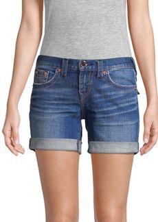 True Religion Jayde Mid-Rise Rolled Bermuda Shorts