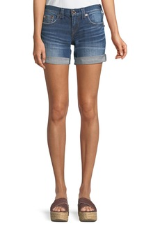 True Religion Jayde Mid-Rise Rolled-Hem Denim Shorts with Flap Pockets