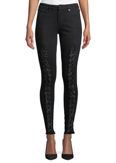 True Religion Jennie Curvy Mid-Rise Lace-Up Jeans