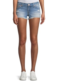 True Religion Joey Distressed Cutoff Denim Shorts