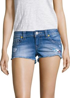 True Religion Joey Distrssed Cut-Off Denim Shorts/Blue Wonder