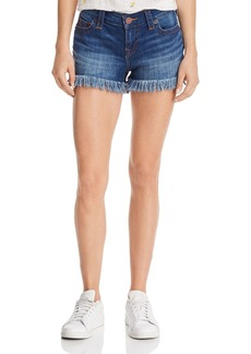True Religion Keira Frayed-Hem Denim Shorts in Hardware Blue