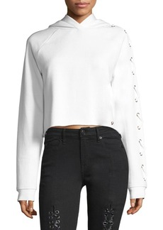 True Religion Lace-Up Sleeve Cropped Hoodie