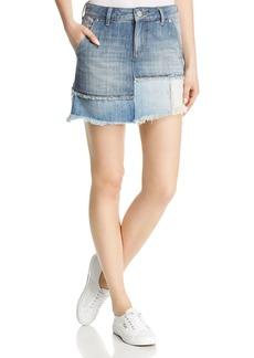 True Religion Layered Denim Mini Skirt in Triple Salute