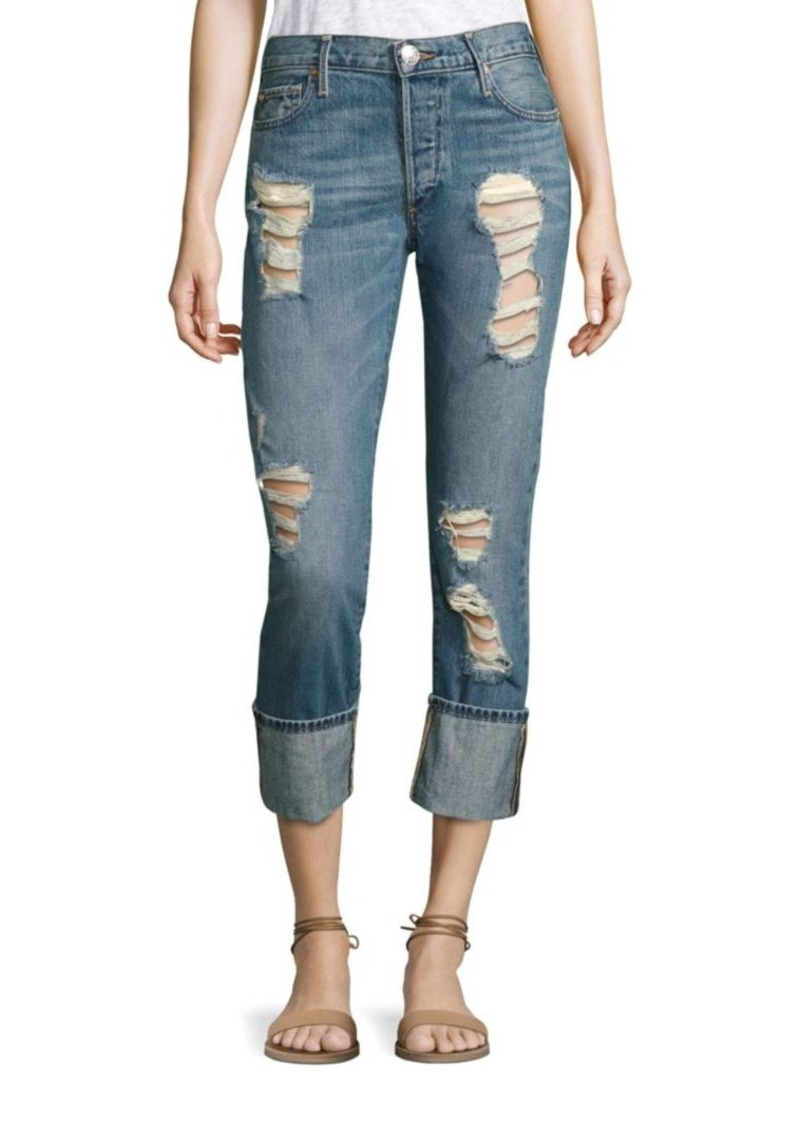 True Religion Liv Low-Rise Distressed Cuffed Skinny Jeans