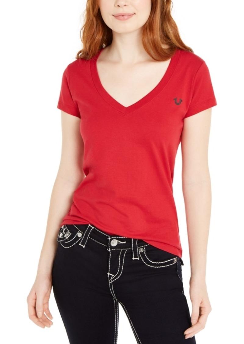 True Religion Logo-v-Neck Short-Sleeve T-Shirt