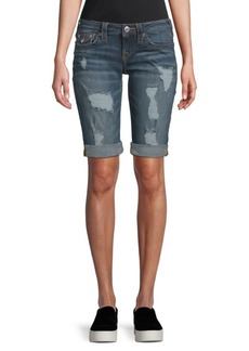 True Religion Long Distressed Jean Shorts