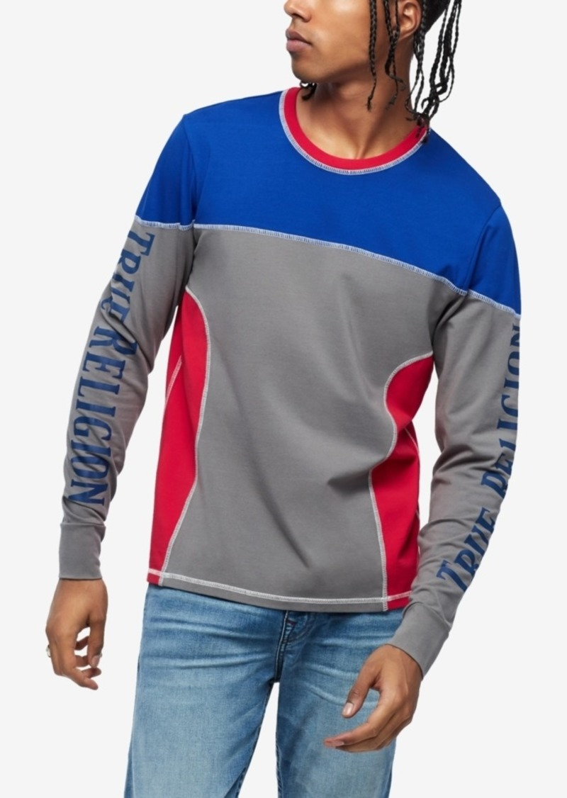 True Religion Men's 90S Panel Long Sleeve Colorblocked Rugby Crewneck Sweatshirt
