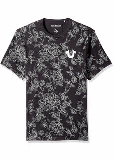 True Religion Men's All Over Floral Print Short Sleeve Crew Neck TEE Black/Grey XXL