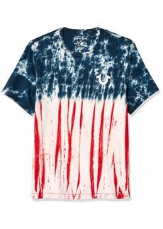 True Religion Men's Americana TIE DYE SS Puff TEE Blue/Red M